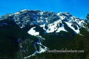 Blue sky with a large snow covered mountain with green trees cleared in some areas for ski trails
