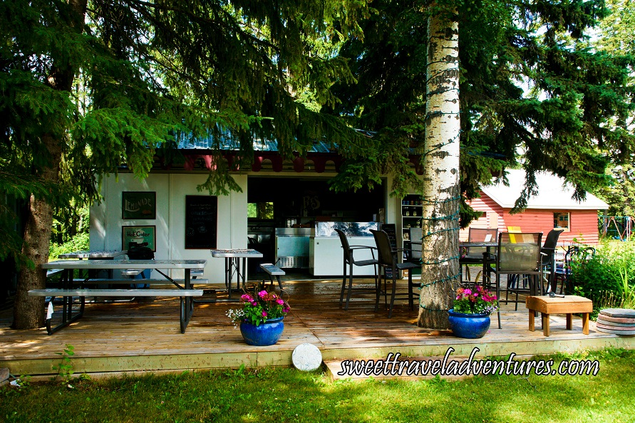 A White Outdoor Café Nestled Between Large Green Trees With a Wooden Deck, White Picnic Tables, a Round Table With Several Chairs, Blue Flower Pots With Pink Flowers, and a White Ice-cream Freezer