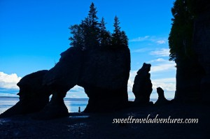 A Silouette of Two Rocks Forming an Arch With the Silouette of a Person Standing in the Arch Looking Out at the Blue Water and Trees Growing out of the Top of the Arch, a Silouette of Two Vertical Rocks to the Right of the Arch and a Cliff and a Squarish Rock to the Left of the Arch and a Blue Sky With Large Fluffy White Clouds