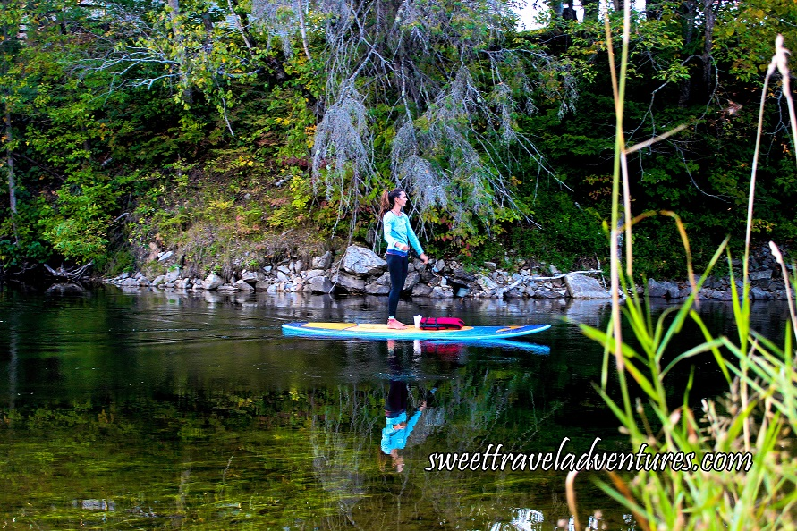 Side View of a Girl on a Blue and White Paddle Board Holding a Long Paddle With Green Trees and Green Plants in the Background Reflected onto the River, Long Green Grass on the Bottom Right