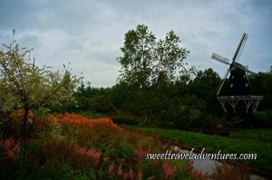 On the Right is a Black and White Dutch Windmill With Green Grass, Green Shrubs, Green Trees Beside and Behind it, On the Left is Pink, Orange, and Green Plants and a Tree With White Leaves