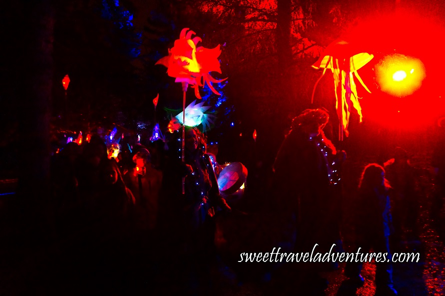 A Procession of People at Night With Trees Around Them Holding Illuminated Lanterns of Different Objects and Wearing Illuminated Necklaces